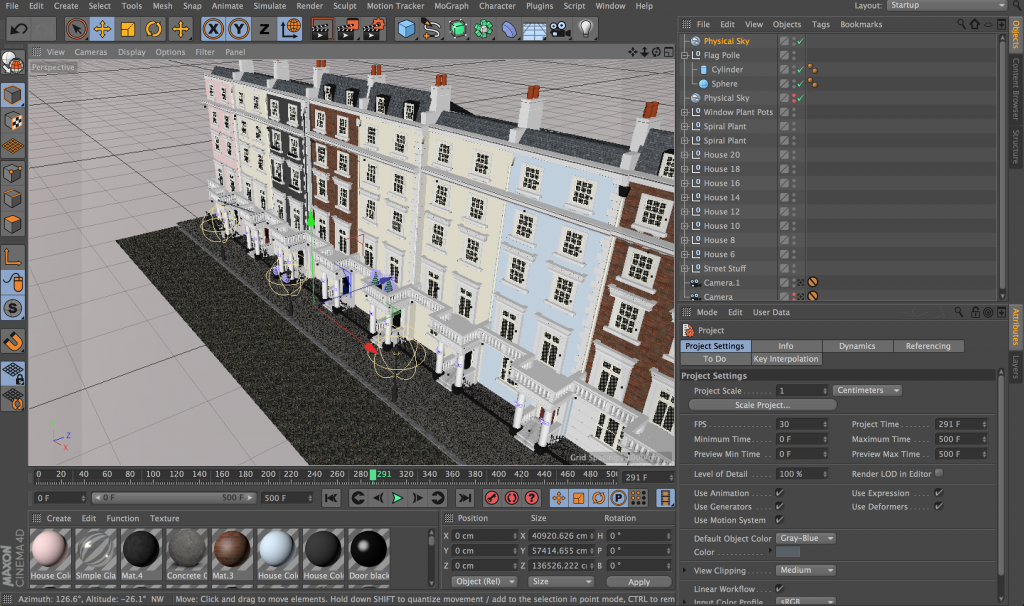 Cinema4d Houses Side